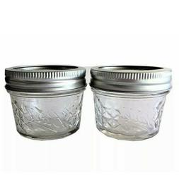 Mason Ball Jelly Jars-4 oz. each - Quilted Crystal Style-Set