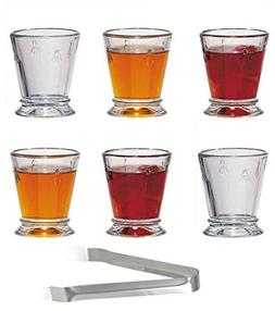 Napoleon Bee Shot Clear Glasses Set of 6 – 2 Ounce Abeille