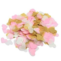 Mybbshower Pink Gold Heart Confetti for Engagement Party Bri