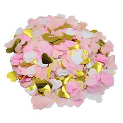 Mybbshower Pink and Gold Hearts Confetti Wedding Reception T
