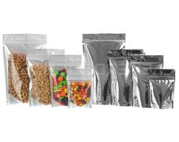 Silver/Clear Stand-Up Barrier Pouches - Resealable Ziplock B
