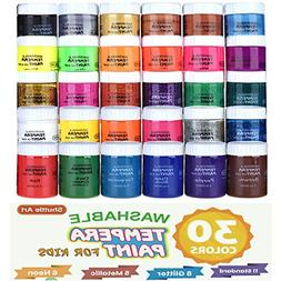 Tempera Paint,Shuttle Art 30 Colors Washable Tempera Paint