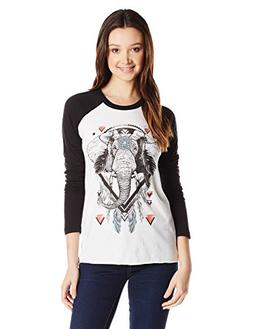 Element Juniors Tribe Graphic Long Sleeve Raglan Tee, White,