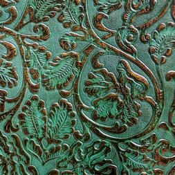 """Turquoise & Copper 2/3oz Floral Embossed Cowhide Leather 12"""""""